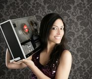 Open reel tape recorder beautiful brunette Dj Stock Photos