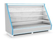 Open refrigerated display case with shelves. 3d image isolated on white Royalty Free Stock Images