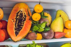 Open Refrigerator Filled With Fresh Fruits And Vegetable, Raw Food Concept, healthy eating concept Royalty Free Stock Photo