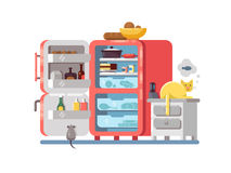 Open refrigerator with food Stock Photos