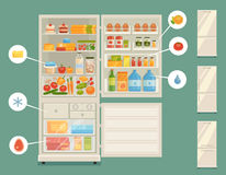 Open refrigerator full of fresh food Royalty Free Stock Photography