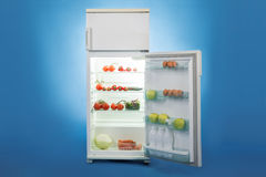 Open Refrigerator Full Of Healthy Food Stock Photo