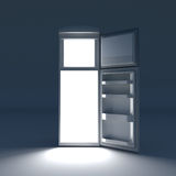 Open refrigerator with lights inside. Royalty Free Stock Photography