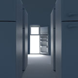 Open refrigerator with lights inside. Royalty Free Stock Image
