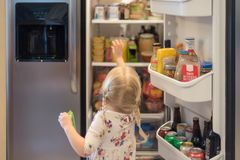 Open refrigerator stocked with food and drink. Girl standing in front of open stainless steel refrigerator stocked with food and drinks Royalty Free Stock Image