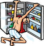 Open the refrigerator to cool off Stock Images
