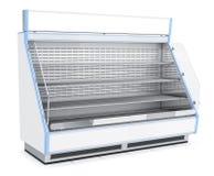 Open refrigerou a vitrina com prateleiras Fotografia de Stock Royalty Free