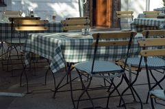 Open restaurant. Table and chair in open air restaurant in Slovenia, Central Europe Stock Photography
