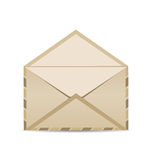 Open retro envelope with shadow isolated on white background Royalty Free Stock Photography