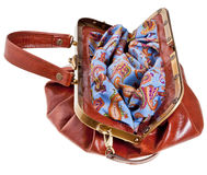 Open retro style leather bag portmanteau Royalty Free Stock Photo