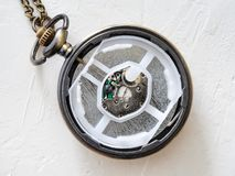 Open retro style pocket watch with quartz movement stock images
