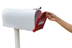 Open retro white mailbox Stock Images
