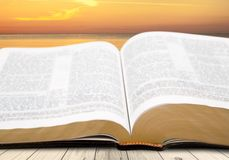 Open revelation. Book old sky testament nobody christian Royalty Free Stock Photography