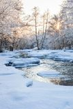 Open river at winter Royalty Free Stock Photo