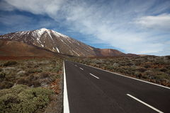 Open Road. On Tenerife. The  to leading to the Volcano Teide on Tenerife Stock Photo
