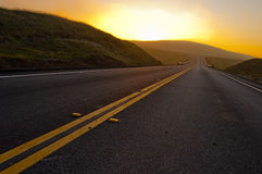 Open Road. An open road in the hills of Southern California stock images
