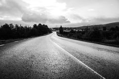The open road. The beautiful road in black white Stock Photos
