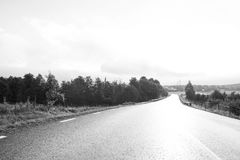 The open road. The beautiful road in black white Royalty Free Stock Photography