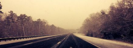 Open Road. Due to Winter royalty free stock photography