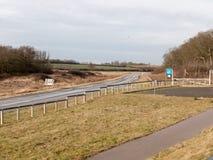 Open road motorway scene near abberton nature reserve empty. Essex; england; uk royalty free stock photography