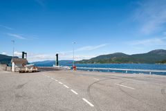 Open road. Empty road with no traffic in countryside. Rural landscape. Ryfylke scenic route. Norway. Europe.Waiting for ferry. royalty free stock photo