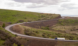 Open Road Semi Trucks Travel Curved Highway Oregon Countryside Stock Photo