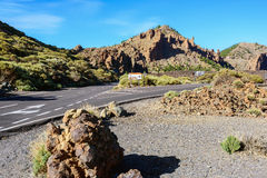 Open road on Tenerife.  Beautiful landscape of Tenerife island, Spain Stock Images
