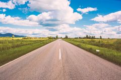 Open road Vrsac Serbia stock photos