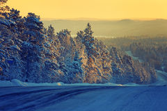 Open road.Winter icy road.Photo tinted. Stock Photo