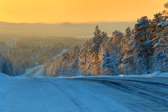 Open road.Winter icy road.Photo tinted. Stock Photography
