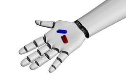 Open robot hand holding pills on white. 3d rendering vector illustration