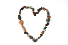 Open Rock Heart. An open heart created from polished stones and gems Stock Photos
