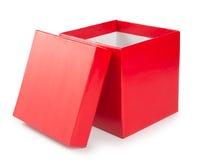 Open rode giftdoos op witte achtergrond royalty-vrije stock foto