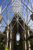 Open roof frame of the El Portal Rain Forest Center in the El Yunque Rainforest royalty free stock images