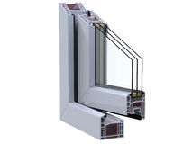 Open сross section through a window PVC profile. 3D render, isolated on white background. Open a window PVC profile Stock Image