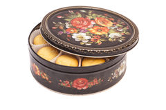 Open Round box with cookies Stock Photo