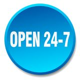 Open 24 7 button. Open 24 7 round button isolated on white background.  open 24 7 Royalty Free Stock Photo