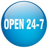 Open 24 7 button. Open 24 7 round button isolated on white background.  open 24 7 Royalty Free Stock Images