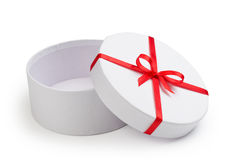 Open round gift box with red bow Stock Photography