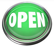 Open Round Green Button Press to Start Stock Photo