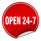 Open 24 7 sticker. Open 24 7 round sticker isolated on wite background. open 24 7 Stock Photography