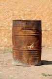 Open rusty iron barrel Stock Image