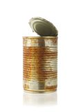 Open rusty tin can. On white background Royalty Free Stock Photography