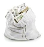 Open sack full of money dollars. On white background Stock Photos