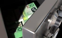 Open Safe With Australian Dollars. A sneak peak closeup of a slightly open metal safe revealing bundles of australian dollar notes inside of it Stock Photography