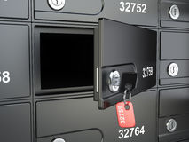 Open safe bank cell and key to the safe Royalty Free Stock Photos