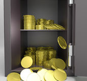 Open Safe With Coins Showing Treasure Protection Royalty Free Stock Photos