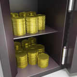 Open Safe With Coins Shows Safety Savings Stock Photo