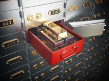 Open safe deposit box with  golden ingots. Financial banking inv. Estment concept. 3d illustration Royalty Free Stock Image