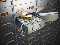 Open safe deposit box with money, jewels and golden ingot. 3d illustration Royalty Free Stock Photo